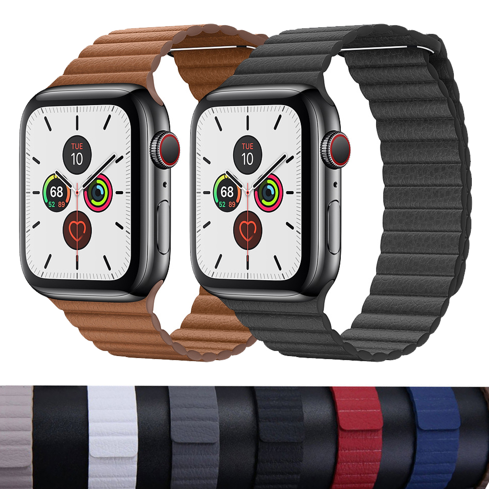 Leather Loop Strap For Apple Watch Band 44 Mm 40mm IWatch Band 42mm 38mm Magnetic Closure Bracelet For Apple Watch 5 4 3 2 1