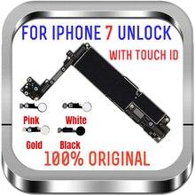 Livre icloud para iphone 7 placa mãe desbloqueado mainboard 100% original para iphone 7 placa lógica principal chips completos apoio iosupdate