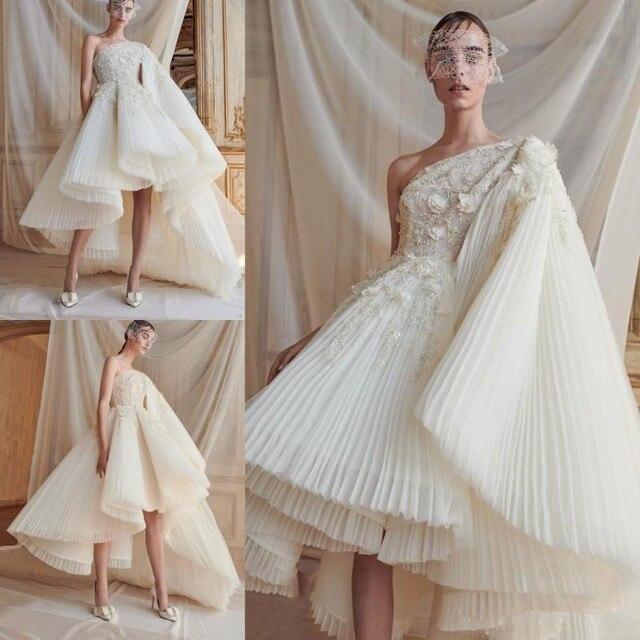 2019 Chic Abendkleider Eine Schulter Appliqued Dicke Spitze High Low Maß Formale Kleider robe de soiree