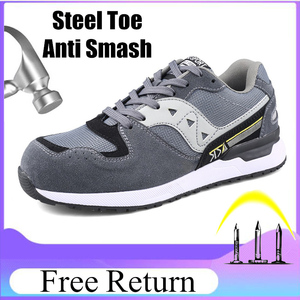 Image 1 - Size 47 Safety Boots Mens Breathable Fashion Safety Men Shoes With Steel Toe Cap Work Sneakers Resistance Zapatos De Seguridad