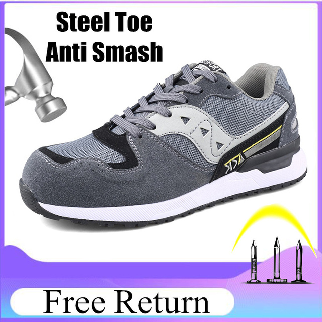 Size 47 Safety Boots Mens Breathable Fashion Safety Men Shoes With Steel Toe Cap Work Sneakers Resistance Zapatos De Seguridad