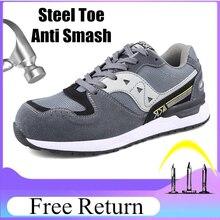 Tamaño 47 botas De Seguridad Mens De moda transpirable calzado para hombre De Seguridad con punta De acero De trabajo De resistencia Zapatos De Seguridad