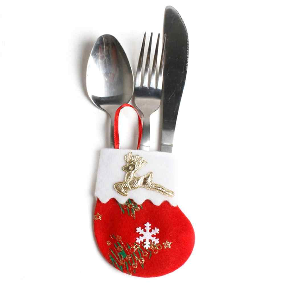 Baru Natal Linen Kaus Kaki Mantel untuk Blade + Garpu Hiasan Pohon Natal Liontin Tas Permen Rumah Gantung Dekorasi