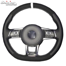 Shining wheat Black Suede Genuine Leather DIY Hand Sew Car Steering Wheel Cover for Volkswagen VW Golf 7 GTI Golf R MK7 VW Polo цена 2017