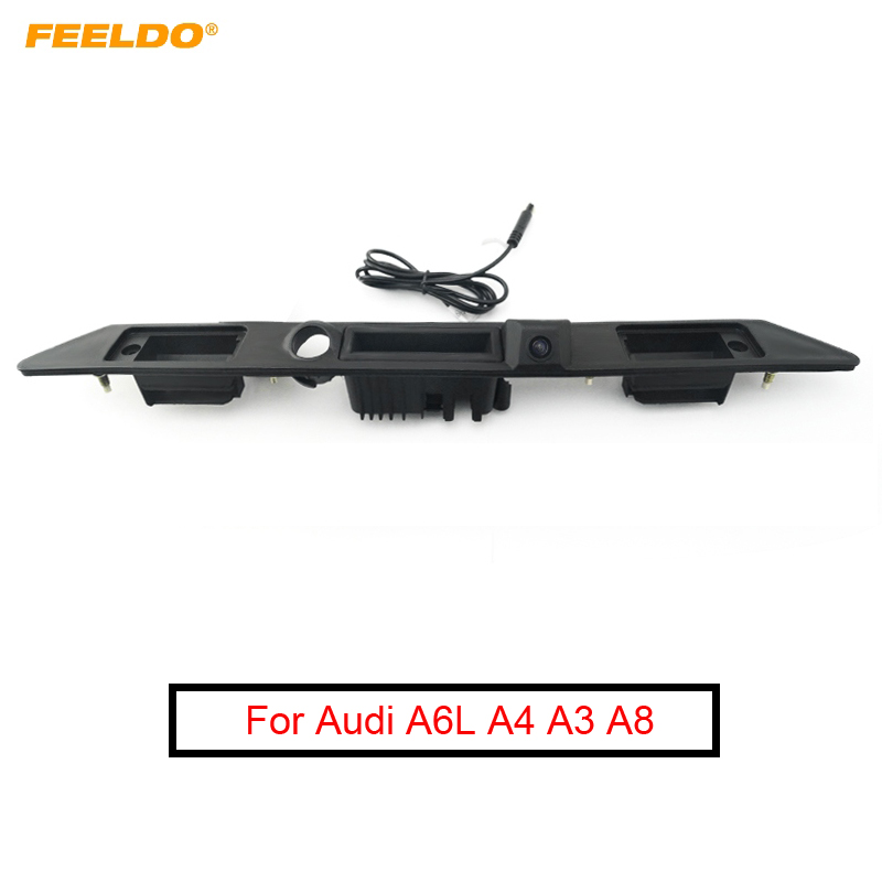 FEELDO 1PC Car Rearview Camera Trunk Handle Camera For Audi A6L A4 A3 A8 2011 CCD Night Vision Parking Camera #FD-2043
