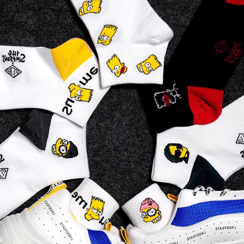 Harajuku Cute Couple Simpson Sesame Street Cartoon Pattern Ankle Socks Fun Simpsons Happy Woman Cotton Socks Ladies Socks