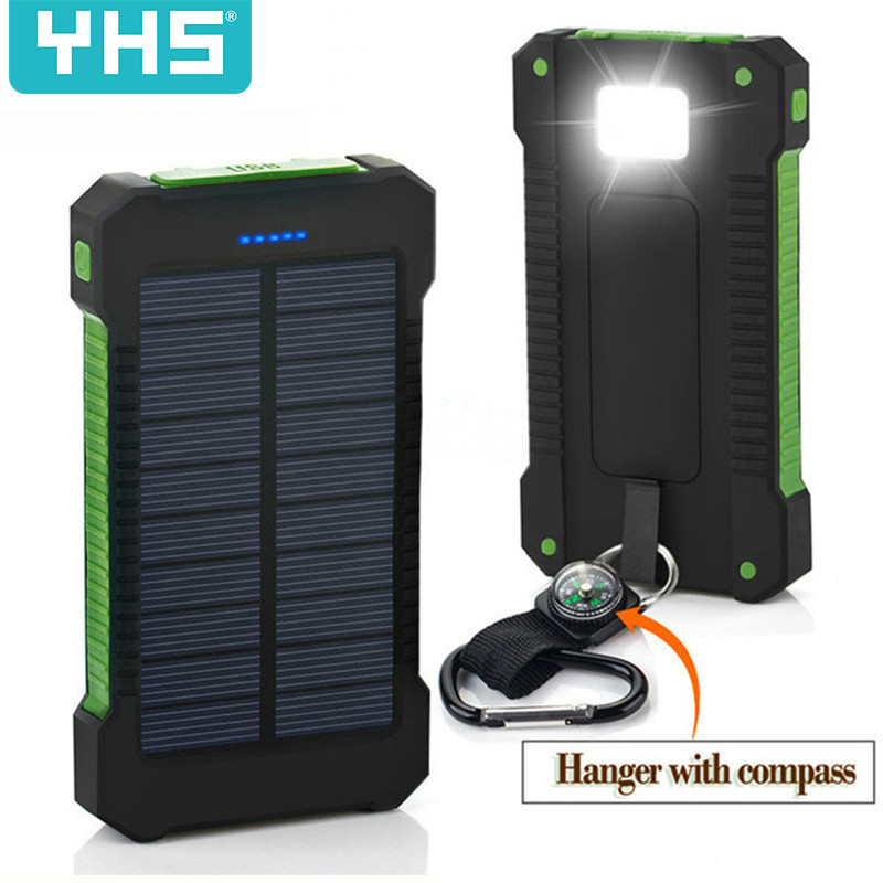 Solar Power Bank Waterproof 30000mAh Solar Charger USB Ports External Charger Powerbank For Xiaomi 5S Smartphone With LED Light