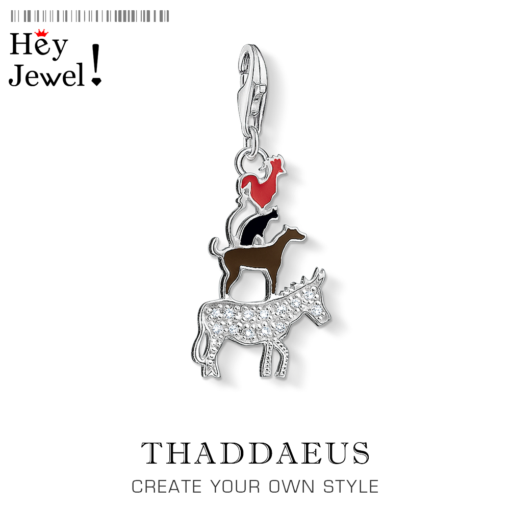 Bremen Town Musicians Pendant Charm Fit Bracelet Women Men 2020 925 Sterling Silver Fashion Jewelry Donkey Dog Cat Cockerel Gift