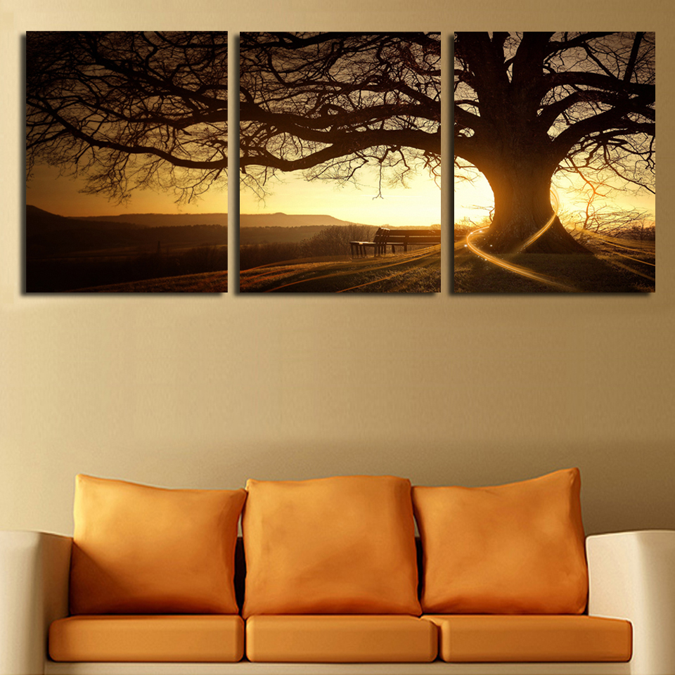 3 Panel Modern Printed Tree Painting Picture Cuadros Sunset Canvas Painting Wall Art Home Decor For Living Room No Frame F035
