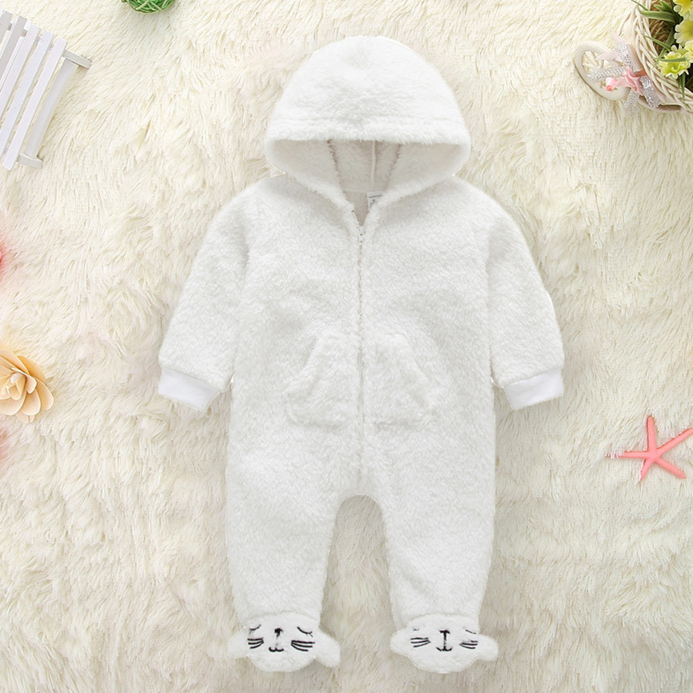 Baby Winter fleece Romper Newborn Infant Baby Boy Girl Long Sleeve Hooded Cartoon Flannel Jumpsuit Warm Clothes for newborns
