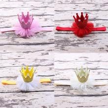 Ободки для девочек, аксессуары для головы, диадема принцессы, королева, стразы, Детская повязка для волос, эластичный цветок, корона, головной убор