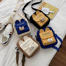 Fashion Meow Cat Ear Canvas Messenger  Bag Women Girls Simple  Storage Handbag Shoulder Cartoon Cute Cat Bag Tote