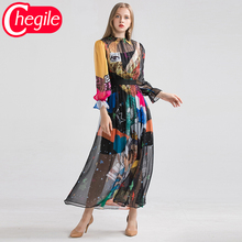 Chiffon Women Vintage Dresses 2019 Early Autumn Fashion Full Petal Black Patchwork Printed Holiday Dress