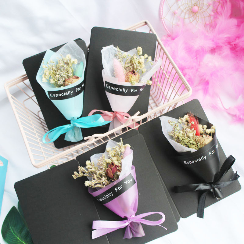 Gift Dried Flower Creative Birthday Card Mini Dried Flower Bouquet Gift Box Ins Wind Decoration Wedding Ceremony Greeting Card