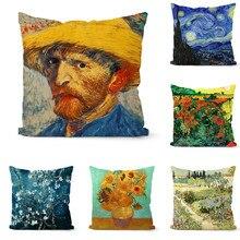 Pillowcase Cushion-Cover Sunflower Home-Decorative Painting Sofa Van Print 1pcs Gogh