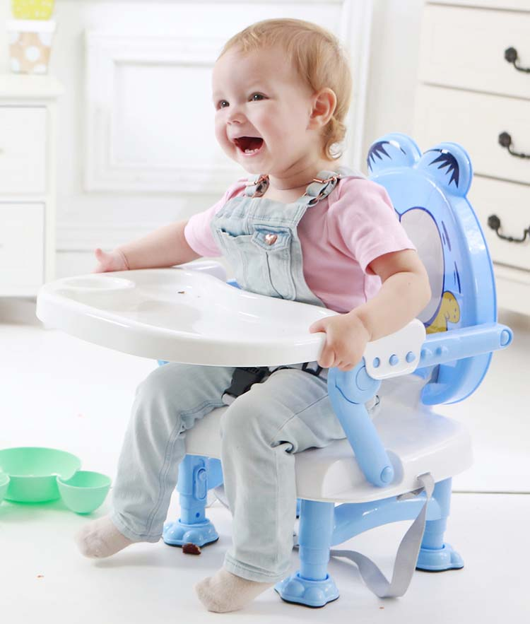 0.6-5 Years Old Folding BB Chair Lifting Baby Dinning Chair Portable Child Dinning Table PP Material Cartoon Armchair