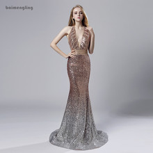 sequin evening dress, formal long halter backless dress