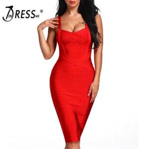 Image 2 - INDRESSME 2020 المرأة ميدي ضمادة فستان مثير السباغيتي حزام Bodycon نادي فساتين الحفلات Vestidos بالجملة