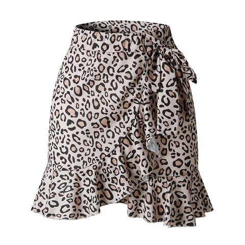 Fashion Women Leopard Skirts High Waist Split Mini Skirts Lady Sexy Pleated Skirt Female Casual Lace-up Printed Jupe Faldas Karachi