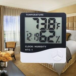 Image 5 - Комнатный термометр гигрометр, электронный цифровой ЖК дисплей C/F, измеритель температуры и влажности, метеостанция с будильником для спальни и дома