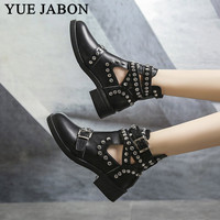 Women Ankle Boots Rivet Buckle Strap Gladiator Autumn Ladies Punk Motorcycle Boot Women's Platform Shoes Chunky Heel shoes