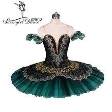 بدلة رقص باليه للمحترفين باللون الأسود والأخضر من La Esmeralda موديل توتو للبنات