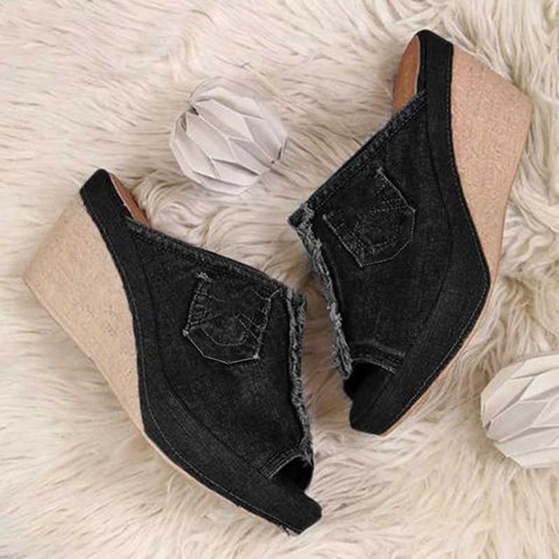 Yaz bayanlar ayakkabı topuklu şık bayan mavi kovboy rahat açık ayak ayakkabı takozlar platformu açık sandalet terlik