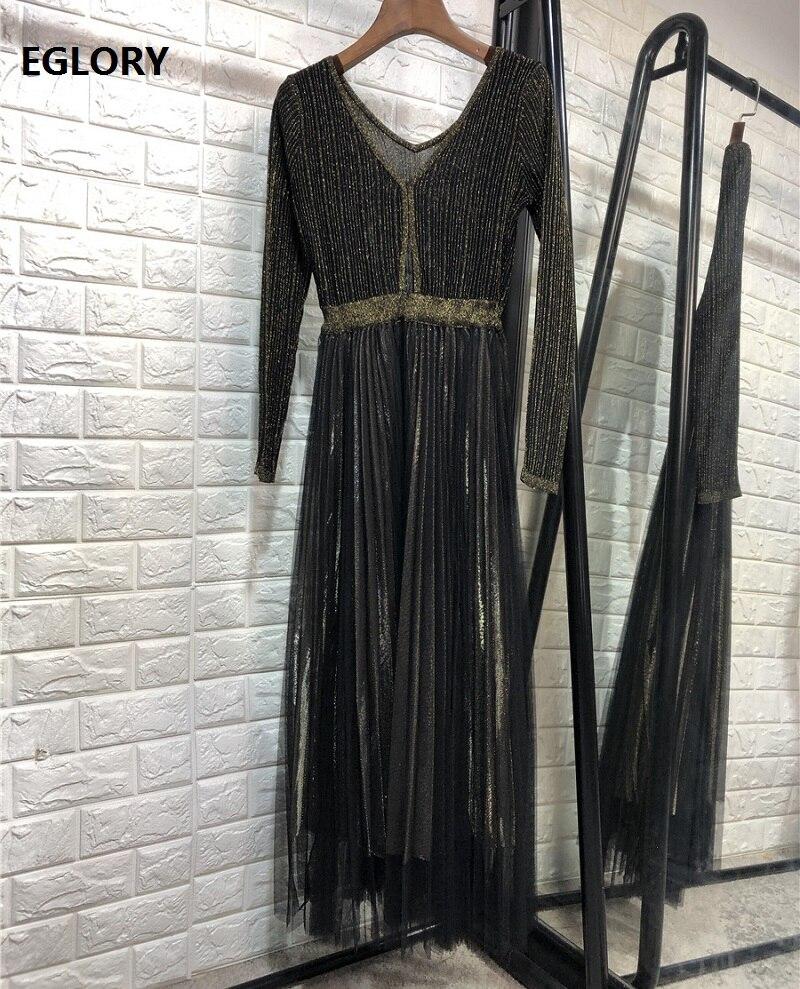 Gland fête élégante robe 2019 automne mode dames col claudine Sexy pure dentelle Patchwork à manches longues robe au-dessus du genou