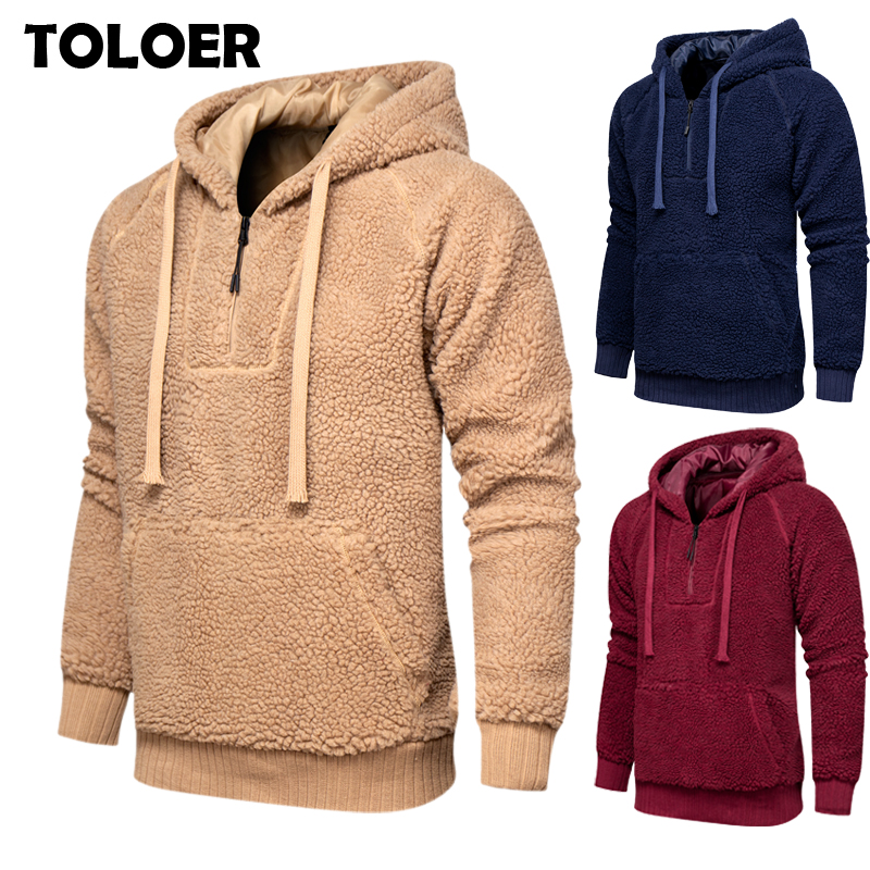 Fleece Winter Jacket Men 2020 Thick Hooded Pullover Fashion Long Sleeve Plus Velvet Sweatshirts Man Casual Warm Fluffy Wool Coat