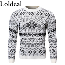купить Loldeal Men Long Sleeve Sweater Soft Snowflake Cotton Knit Round Neck Casual дешево
