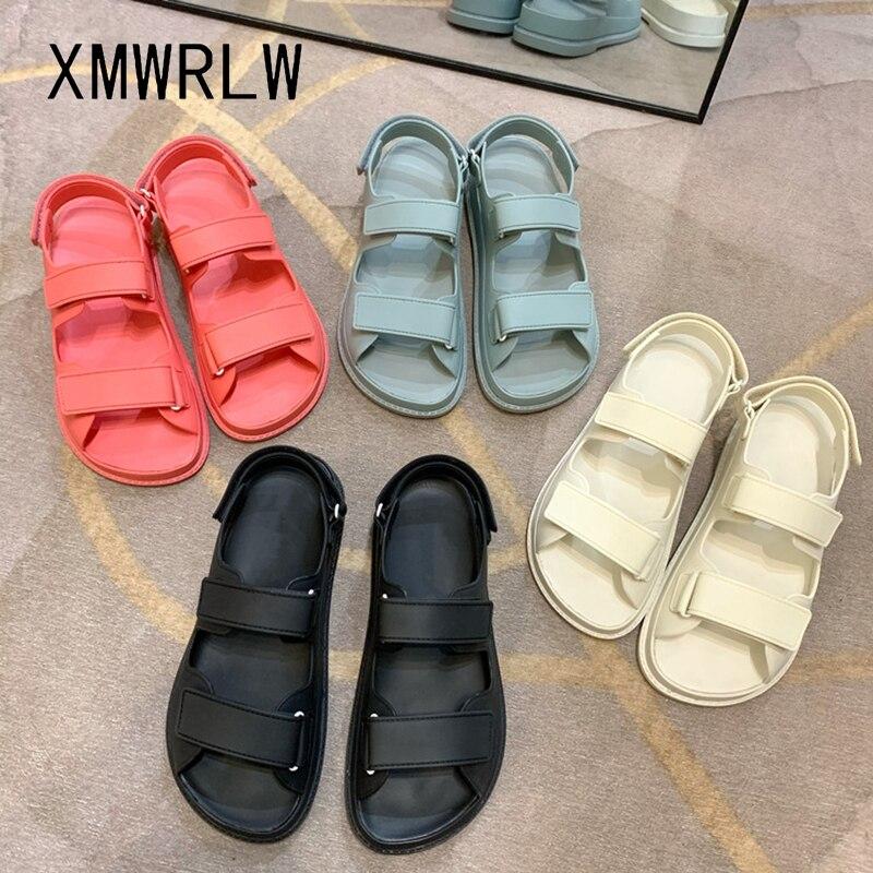 XMWRLW Solid Color Women Summer Sandals Casual Hook Loop Ladies Beach Shoes 2020 Summer Women Flat Sandals Non-Slip Shoes Sandal