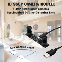 Dual No distortion Lens Synchronized Stereo Camera Module 960P HD OTG UVC Plug and play USB 2.0 Video Webcam Camera Module