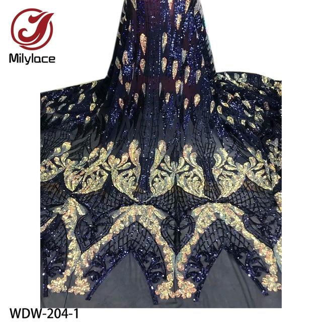 Yeni parlak Bling Sequins dantel 5 metre yüksek kaliteli afrika dantel kumaş örgü dantel düğün parti WDW 204