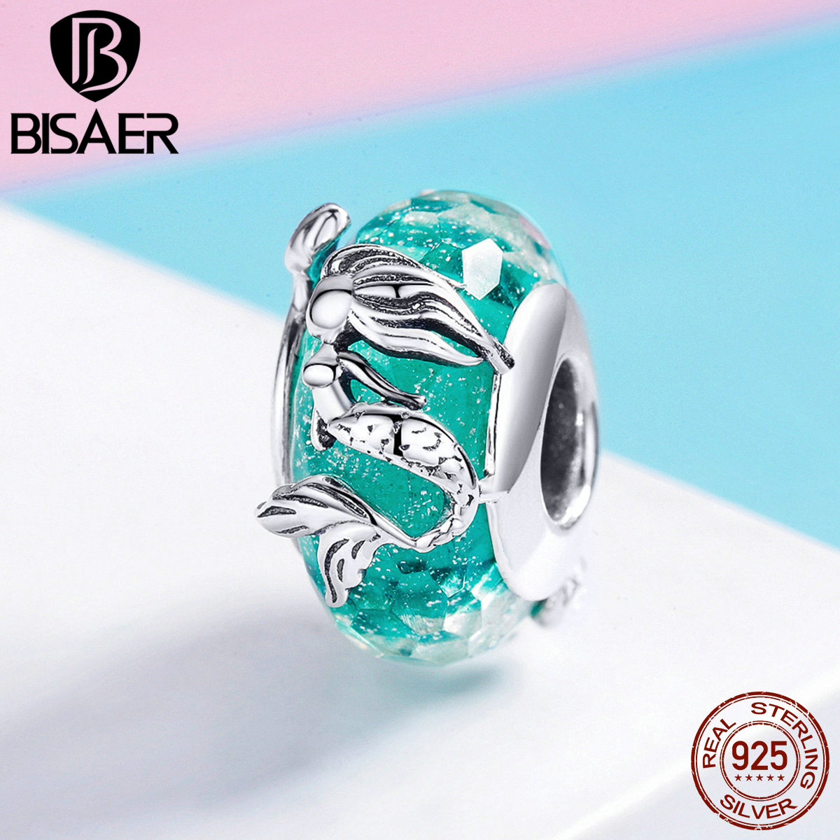BISAER Sale 925 Sterling Silver Mermaid's Story Glass Beads Green European Charms fit Charm Bracelet Silver 925 Jewelry ECC1154(China)