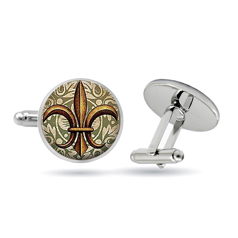 Art Glass Lily Flower Cufflinks Vintage Fleur De Lis Cufflinks Glass Cabochon Cuff Links Dome Glass Retro Jewelry Gifts For Men