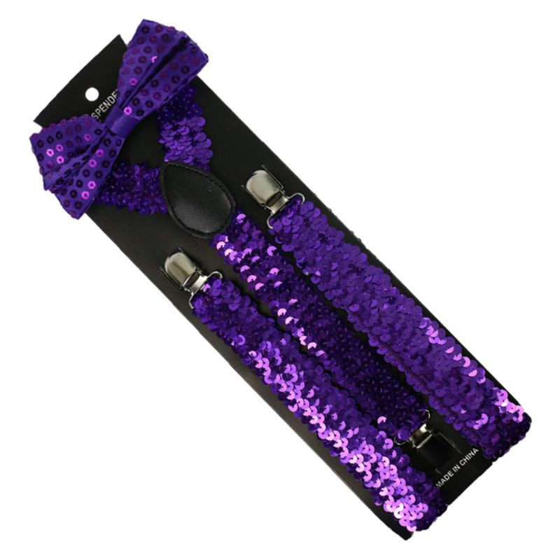 Unisex 2 In 1 Glitter Fish Scales Sequins Solid Suspender Bow Tie Set Outfits A0NF