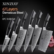 XINZUO-Juego de cuchillos VG10 de acero damasco, rebanador de Chef Santoku para tallar carne grande, pelado de carne, mango Juego de Cuchillos de Cocina G10, 6 uds.