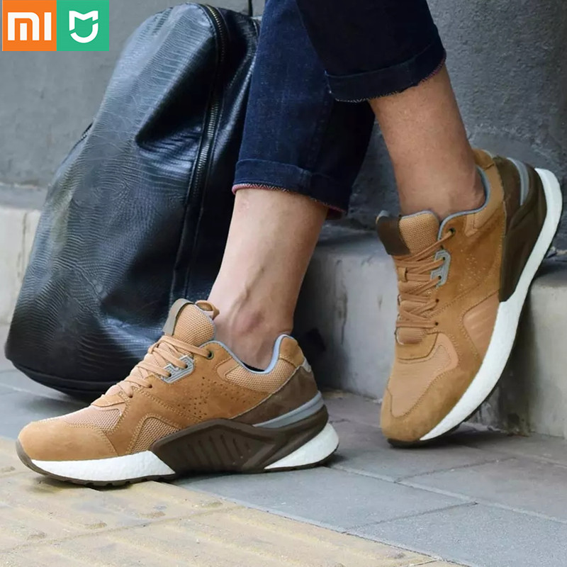 Hot Original Xiaomi Mijia Retro Shoes Men's Running Shoes Outdoor Sports Genuine Leather Sneaker Suede Mesh Breathable Design