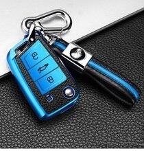 حافظة مفاتيح السيارة الجلدية TPU ، لـ VW Volkswagen MK7/GTI 7/Golf 7/Golf R Skoda Octavia A7 ، غطاء قابل للطي عن بعد ، سلسلة المفاتيح