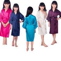 卸売シルクサテン着物ローブ子供バスローブパジャマバスため結婚式のスパパーティー誕生日