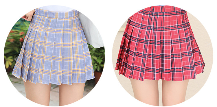 Harajuku Short Skirt New Korean Plaid Skirts Women Zipper High Waist School Girl Pleated Plaid Skirt Sexy Mini Skirt Plus Size 15