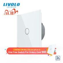 Livolo стандарт ЕС Хрустальная стеклянная панель 220 ~ 250 В 2 банды беспроводной настенный светильник дистанционный сенсорный выключатель + светодиодный индикатор, пульт дистанционного управления