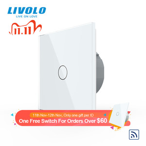 Image 1 - Livolo EU Standard Crystal Glass Panel 220~250V 2gang wireless Wall Light Remote Touch Switch+LED Indicator,remote control