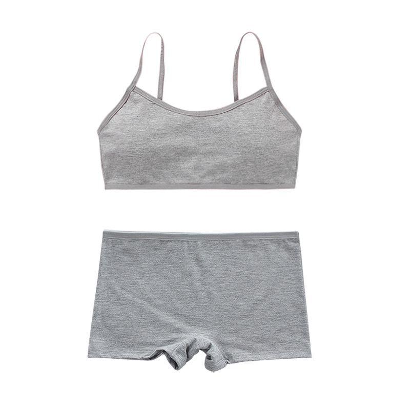 Cotton Bra Set Teens Training Bras Girls Underwear Set Teenagers Puberty  Wireless Bra+Underpants 4