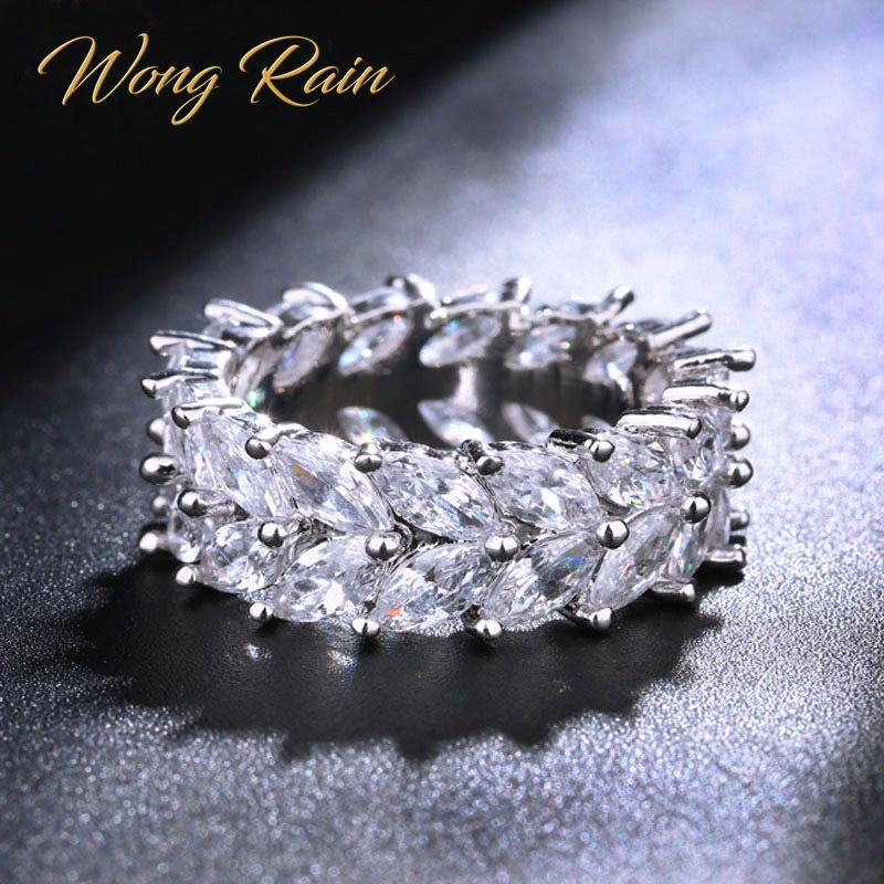 Wong Rain 100% 925 Sterling Silver Created Moissanite Gemstone Wedding Engagement Diamonds Women Ring Fine Jewelry Wholesale