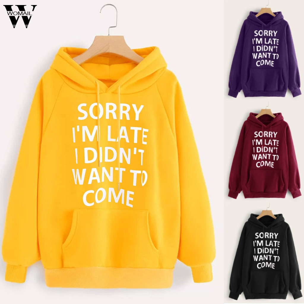 NEW 2020 Fashion Womail Sweatshirts Women's Hoodie Jumper Long Sleeve Letter autumn Print Pocket Hooded Mujer Womens Sweatshirt