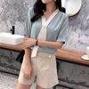 Women's Spring Summer Style Chiffon Blouse Shirt Women's Patchwork V-neck Short Sleeve Ruffles Elegant Temperament Tops DD8443 4