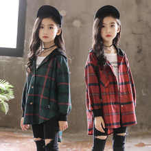 Hot 2019 Children Blouse Girl Cotton Green/Red Plaid Shirts for Teenagers Spring Autumn Fashion Hooded Cardigan Jacket 3 14Yrs