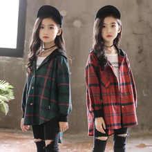 ¡Novedad de 2019! Blusa para niños, camisas a cuadros de algodón verde/rojo para Niñas para adolescentes, cárdigan con capucha a la moda de primavera y otoño, chaqueta de 3 a 14 años