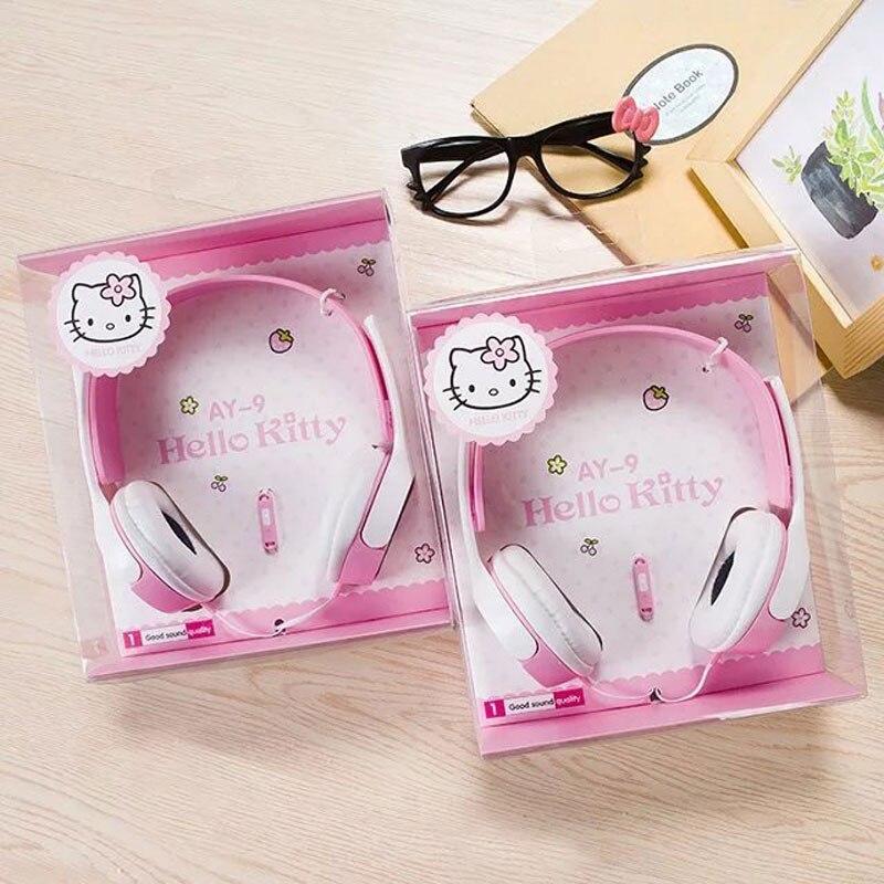Kids Cute Cartoon Headphones For Children Girls Adjustable Over Ear Hello Kitty Headsets For IPad Cellphones Computer MP3/4 Pink